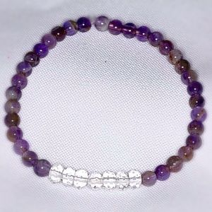 Genuine Amethyst & Crystal Quartz Bracelet
